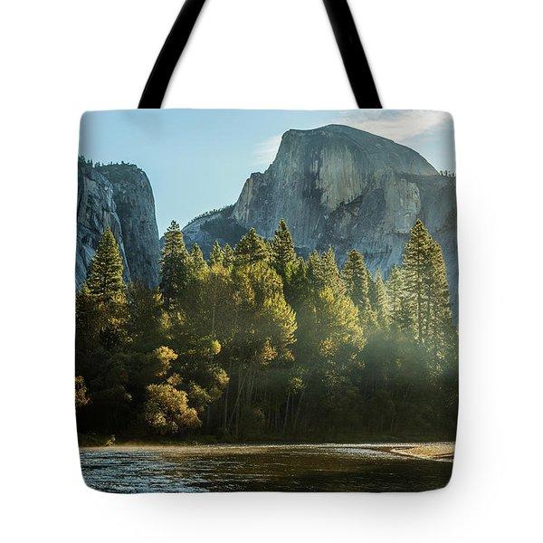 Half Dome And Merced River Autumn Sunrise Tote Bag