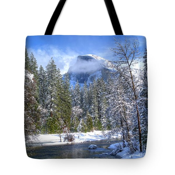 Half Dome And The Merced River Tote Bag by Bill Gallagher