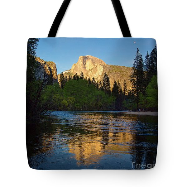 Half Dome And The Merced River With The Moon Tote Bag