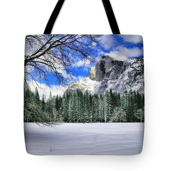 Half Dome In The Snow Tote Bag