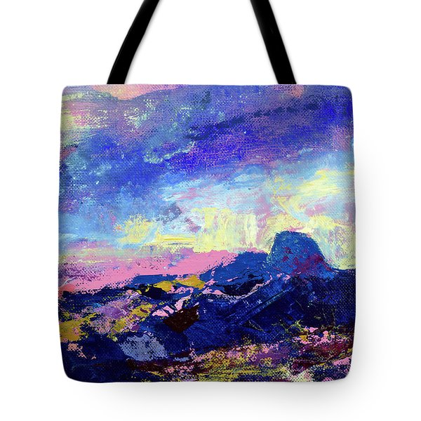 Tote Bag featuring the painting Half Dome Summer Sunrise by Walter Fahmy