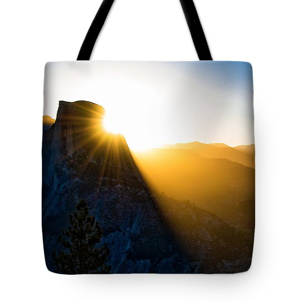 Tote Bag featuring the photograph Half Dome Sunrise by Phil Abrams