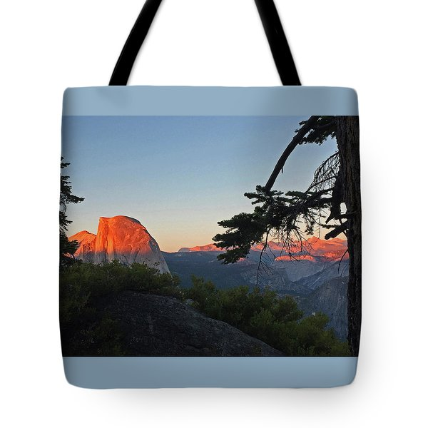 Tote Bag featuring the photograph Half Dome - Sunset On A Bright Day by Walter Fahmy