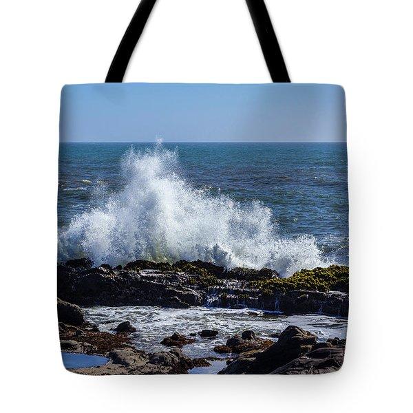 Wave Crashing On California Coast 1 Tote Bag