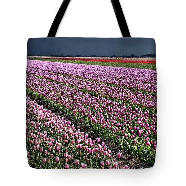 Half Side Purple Tulip Field Tote Bag by Mihaela Pater