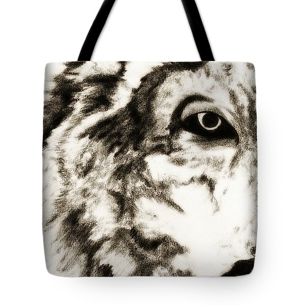 Pencil Drawing Of Half Wolf Face By Ayasha Loya Tote Bag