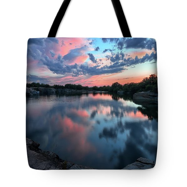 Tote Bag featuring the photograph  Halibut Pt Quarry Reflection Rockport Ma by Michael Hubley