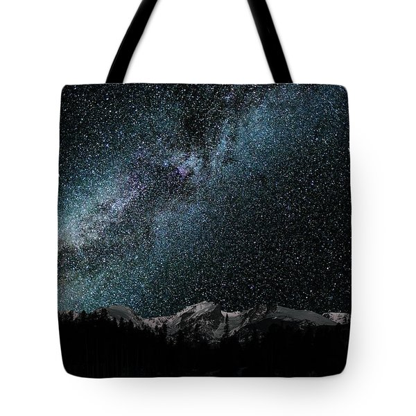 Tote Bag featuring the photograph Hallet Peak - Milky Way by Gary Lengyel