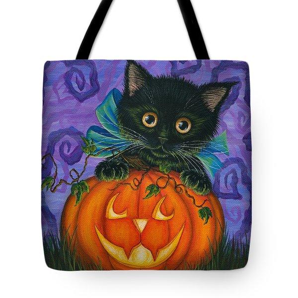 Halloween Black Kitty - Cat And Jackolantern Tote Bag