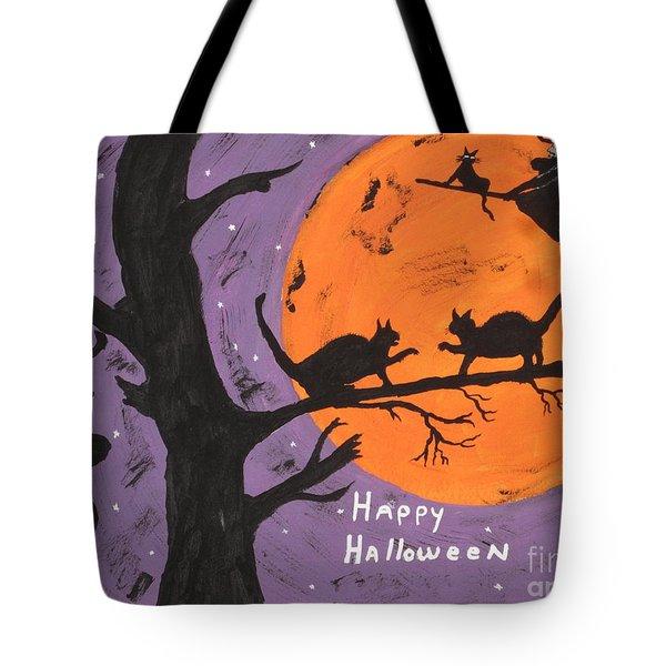 Halloween Cat Fight Tote Bag by Jeffrey Koss
