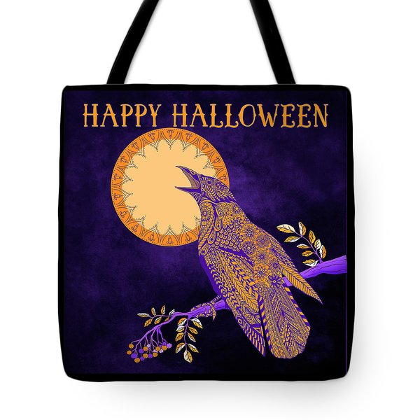 Tote Bag featuring the drawing Halloween Crow And Moon by Tammy Wetzel