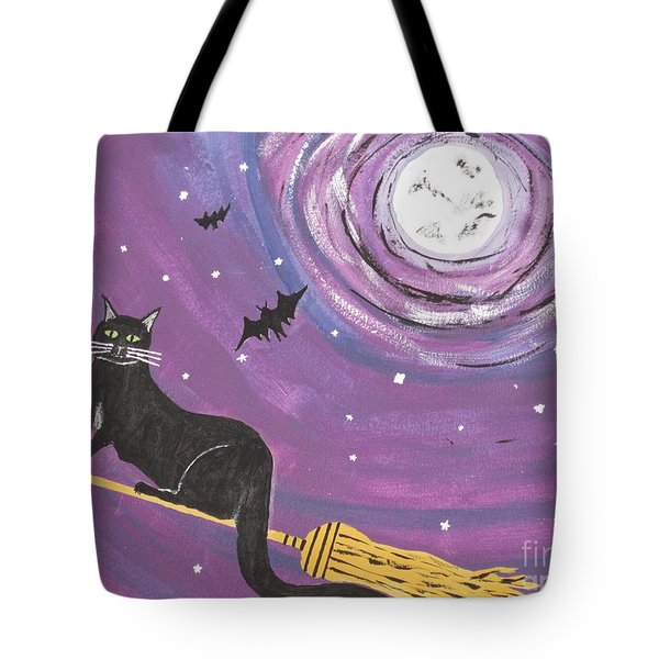 Halloween Flying  Black Cat Tote Bag by Jeffrey Koss