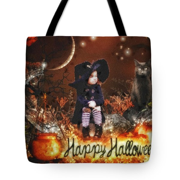 Halloween Girl Tote Bag by Mo T