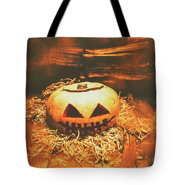 Halloween In Fall. Still Life Pumpkin Head Tote Bag