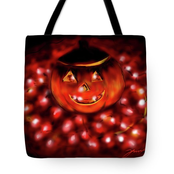 Halloween Lights Tote Bag by Jean Pacheco Ravinski
