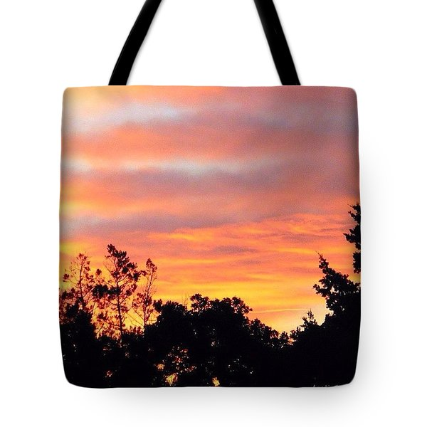 #halloween #morning #sky Is On #fire Tote Bag