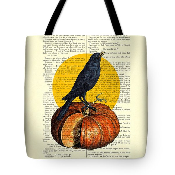 Halloween Pumpkin And Crow Decoration Tote Bag