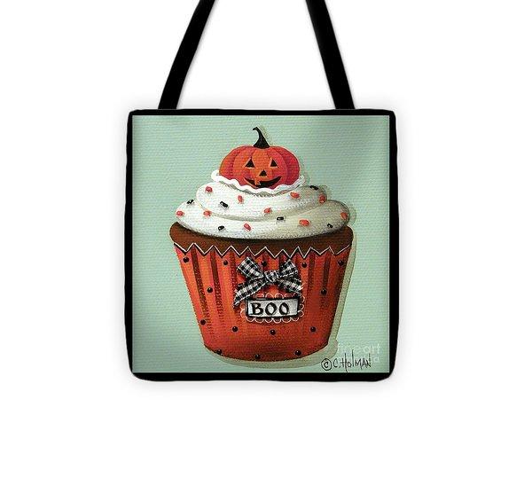 Halloween Pumpkin Cupcake Tote Bag by Catherine Holman