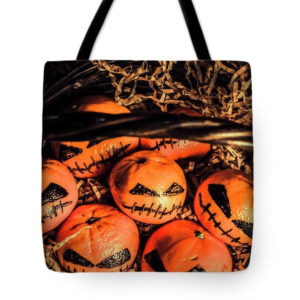 Halloween Pumpkin Head Gathering Tote Bag
