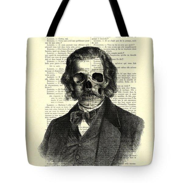 Halloween Skull Portrait In Black And White Tote Bag