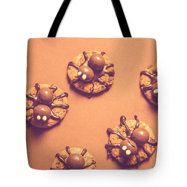 Halloween Spider Cookies On Brown Background Tote Bag