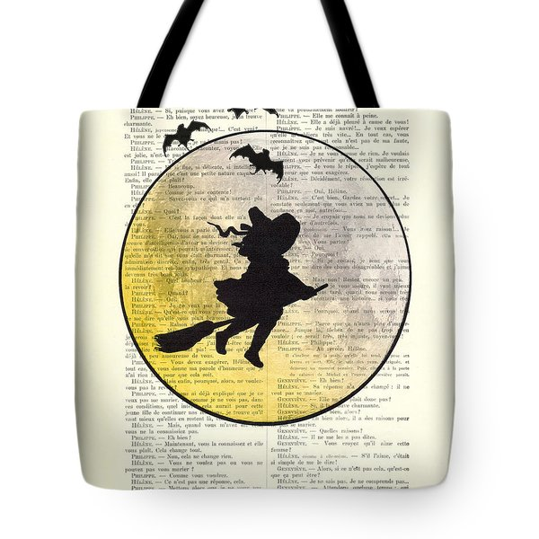 Witch Flying With Full Moon Tote Bag