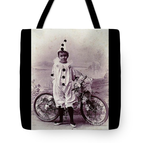 Halloween Pierrot Boy With Antique Bicycle Circa 1890 Tote Bag by Peter Gumaer Ogden