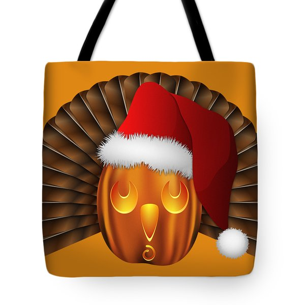 Hallowgivingmas Santa Turkey Pumpkin Tote Bag