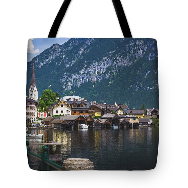 Hallstatt Lakeside Village In Austria Tote Bag