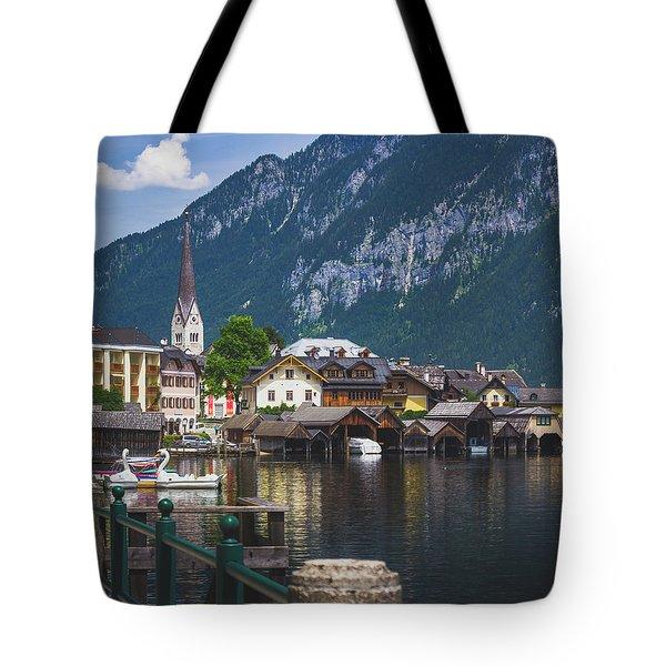 Hallstatt Lakeside Village In Austria Tote Bag