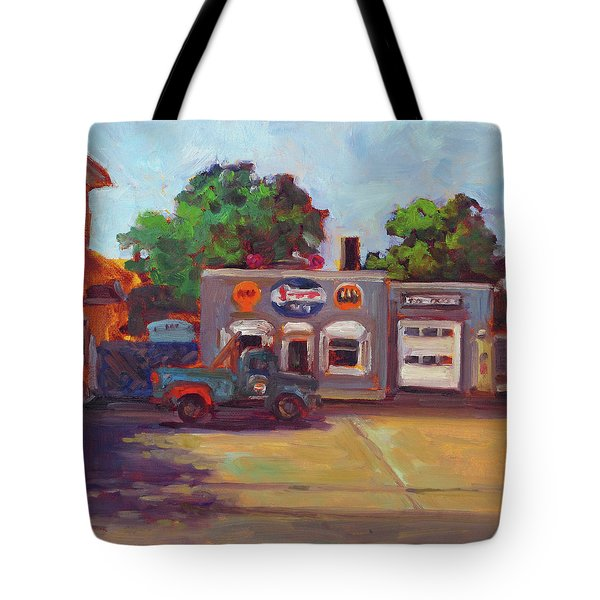 Hal's Garge Tote Bag by Nora Sallows