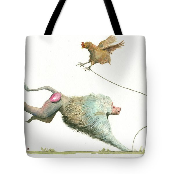 Hamadryas Baboon With Hen Tote Bag
