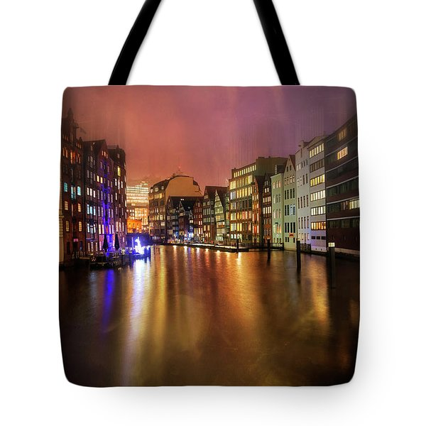 Tote Bag featuring the photograph Hamburg By Night  by Carol Japp