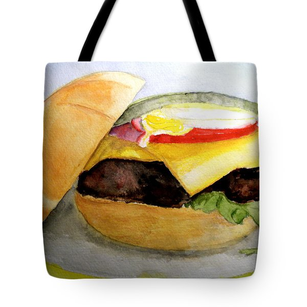 Tote Bag featuring the painting Hamburger On Kasier Roll by Carol Grimes