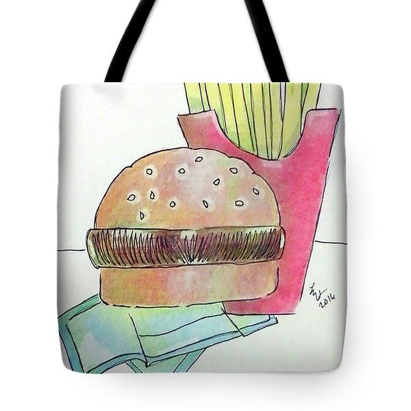 Hamburger With Fries Tote Bag by Loretta Nash