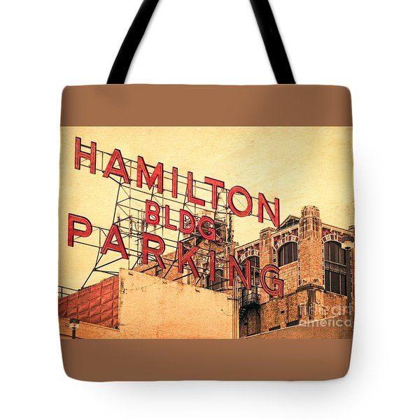 Hamilton Bldg Parking Sign Tote Bag