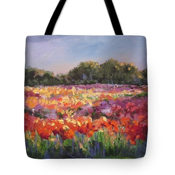 Tote Bag featuring the painting Hamilton Dahlia Farm by Sandra Strohschein