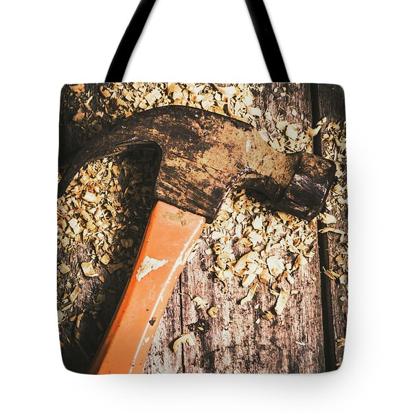 Hammer Details In Carpentry Tote Bag