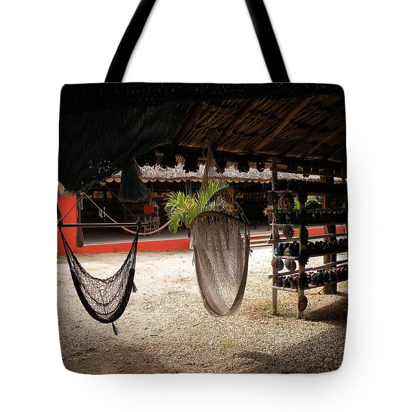 Tote Bag featuring the photograph Hammocks At A Reststop by Dianne Levy