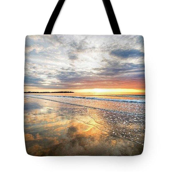 Hampton Beach Sunrise Hampton Beach State Park Hampton Nh Reflection Tote Bag