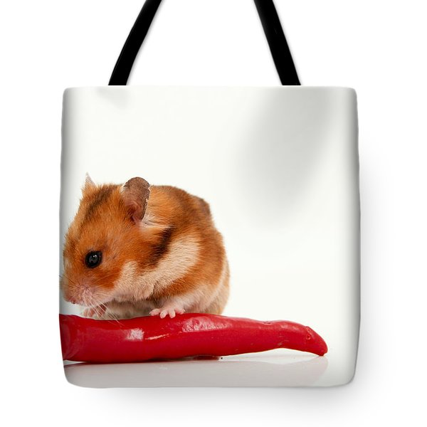 Hamster Eating A Red Hot Pepper Tote Bag by Yedidya yos mizrachi