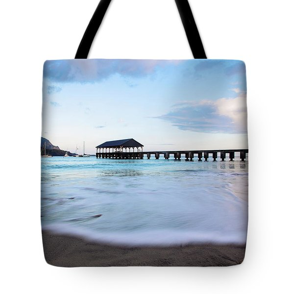 Hanalei Bay Pier At Sunrise Tote Bag by Melanie Alexandra Price