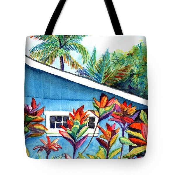 Tote Bag featuring the painting Hanalei Cottage by Marionette Taboniar