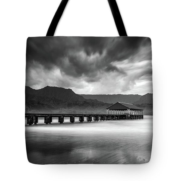 Hanalei Pier In Black And White Tote Bag