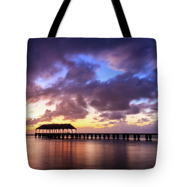 Hanalei Pier Tote Bag by James Eddy