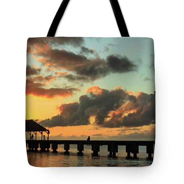 Hanalei Pier Sunset Panorama Tote Bag