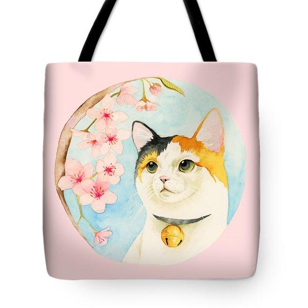 Hanami - Calico Cat And Cherry Blossom Tote Bag