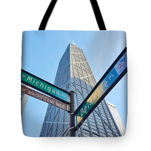Hancock Building With Street Signs Tote Bag