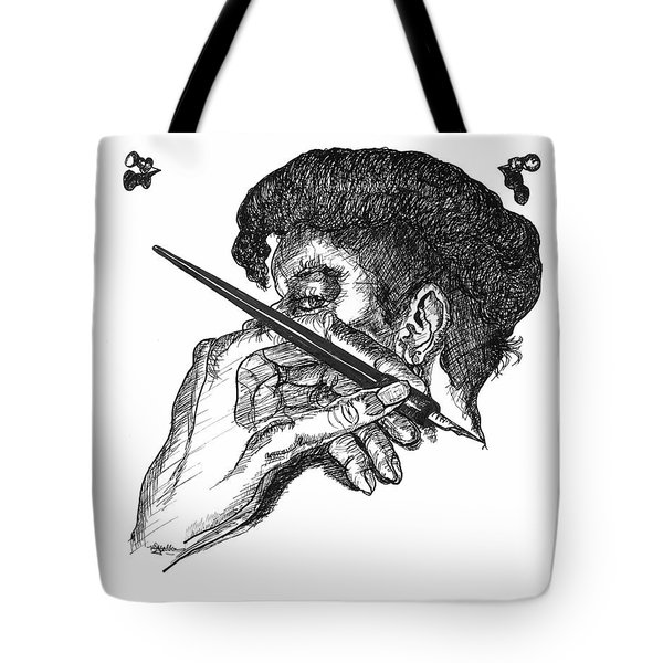 Hand And Pen Tote Bag
