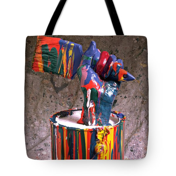 Hand Coming Out Of Paint Can Tote Bag by Garry Gay